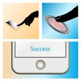 Contact, identification, symbole d'Access de balayage d'empreinte digitale Photographie stock