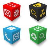 Contact info cubes set Royalty Free Stock Image