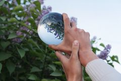 Contact juggling. Hand and acrylic ball Royalty Free Stock Images