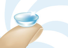 Contact Lens. Illustration of a contact lens on a fingertip Stock Images
