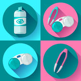 Contact lens case. Container, daily solution and tweezers, for contact lenses Royalty Free Stock Photography
