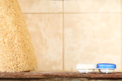 Contact lens container case unit put on toilet wood shelf repres Stock Photo