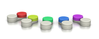 Contact Lens Containers Set. On White Background 3D Illustration Royalty Free Stock Photo