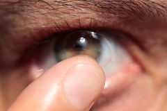 Contact lens on eye Royalty Free Stock Photo