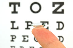 Contact lens and eye test chart Stock Photos