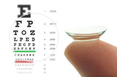 Contact lens and eye test chart. Contact lens on finger and snellen eye chart. Concept sharp vision Stock Images