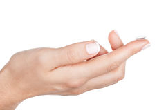 Contact Lens on finger Stock Photo