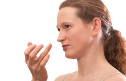 Contact lens on finger of young woman Royalty Free Stock Image
