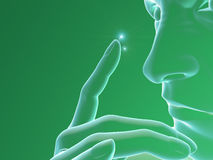Contact Lens, Human Body profile, face, fingers Royalty Free Stock Photography