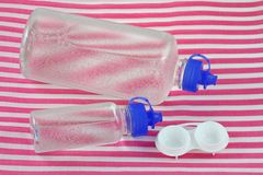Contact Lens Solution and a lens case Royalty Free Stock Image