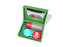 Contact lens travel case. 3D Rendered contact lens travel case on white background Royalty Free Stock Image