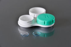 Contact lenses and container Stock Photo
