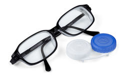 Contact lenses and glasses Stock Photo