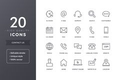 Contact Line Icons. Contact us line icons. Phone, address and mail icon set with editable stroke royalty free illustration
