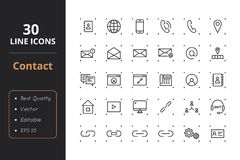 30 Contact Line Icons. Contact line icons. Icons for user interface and web Royalty Free Stock Photos