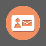Contact mail flat icon. Round colorful button, circular vector sign with shadow effect. Flat style design. Stock Image
