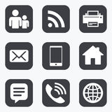Contact, mail icons. Communication signs. Royalty Free Stock Image