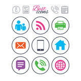 Contact, mail icons. Communication signs. Information, report and calendar signs. Contact, mail icons. Communication signs. E-mail, chat message and phone call Royalty Free Stock Photos