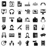 Contact mail icons set, simple style. Contact mail icons set. Simple style of 36 contact mail vector icons for web isolated on white background Stock Image