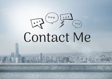 Contact Me text with drawings graphics Royalty Free Stock Images