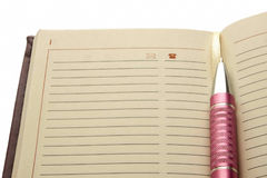 Contact notebook. Pen telephone notes Stock Images