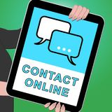 Contact Online Tablet Meaning Customer Service 3d Illustration. Contact Online Tablet Means Customer Service 3d Illustration Stock Photo