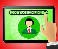 Contact Online Tablet Representing Customer Service 3d Illustrat. Contact Online Tablet Represents Customer Service 3d Illustration Royalty Free Stock Photo