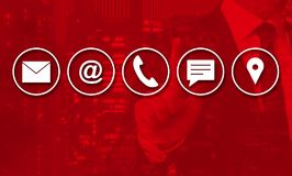 Contact options concept is shown by businessman royalty free stock photo