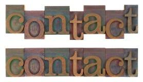 Contact - oud houten letterzetseltype Royalty-vrije Stock Foto's