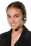 Contact person female. Female contact person with telephone headset Royalty Free Stock Images