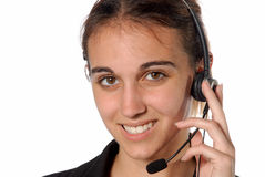 Contact person female. Female contact person with telephone headset Stock Images