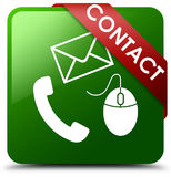 Contact phone, email and mouse icon green square button Stock Photography