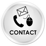Contact (phone email and mouse icon) white premium round button Stock Photo