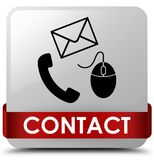 Contact (phone email and mouse icon) white square button red rib Royalty Free Stock Photography