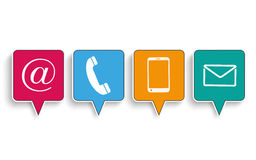 4 Contact Quadratic Speech Bubbles Royalty Free Stock Image