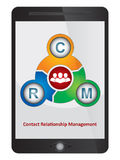 Contact Relationship Management software diagram. On tablet screen Stock Photo