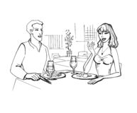 Contact romantique Photo stock