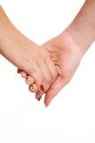Contact sensuel des mains des femmes Image libre de droits