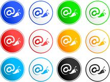 Contact sign icons. Collection of email contact sign icons isolated on white Royalty Free Stock Photography
