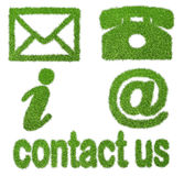 Contact signs. Commercial  contact signs for business from grass Stock Photos