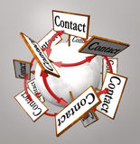 Contact Signs Connected  Arround Sphere World Royalty Free Stock Photo