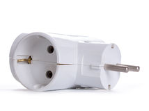 Contact socket splitter for three plugs. Isolated on a white bac Royalty Free Stock Image