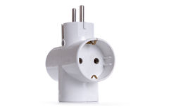 Contact socket splitter for three plugs. Isolated on a white bac Royalty Free Stock Photos