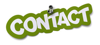 Contact sticker. Contact word written on a green sticker. Label is fixed onto a white wall by using a thumbtack Stock Image
