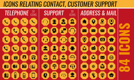 Contact and support icon set in vector Stock Images