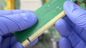 PCI Express card for computer. Contact system on PCI Express card for computer on electronic circuit motherboard background stock video footage