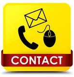 Contact (telefoon e-mail en muispictogram) gele vierkante knoop rode ri Stock Afbeelding