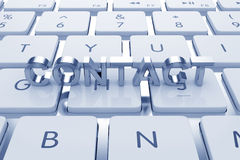 Contact text on computed keyboard Royalty Free Stock Photos