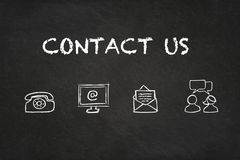 `Contact` text and icons on a blackboard. royalty free stock images