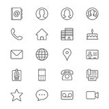 Contact thin icons. Simple, Clear and sharp. Easy to resize royalty free illustration